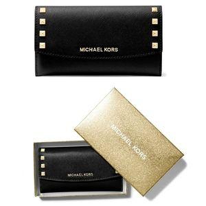 🆕 MICHAEL KORS Studded Black Leather Large Wallet